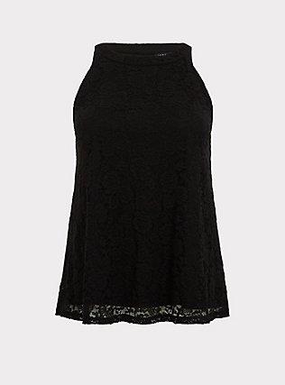 Plus Size Black Lace Goddess Tank, DEEP BLACK, flat
