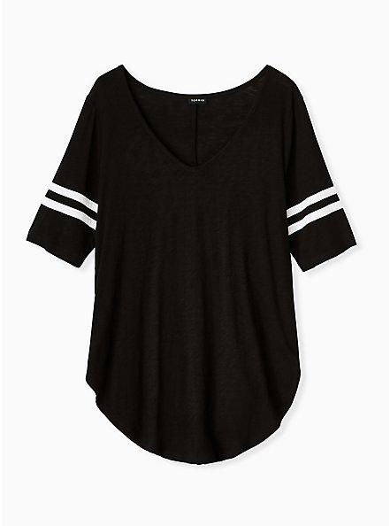 Plus Size Football Favorite Tunic Tee - Heritage Slub Black, DEEP BLACK, hi-res