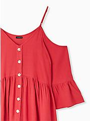 Plus Size Red Gauze Button Cold Shoulder Bell Sleeve Top, AMERICAN BEAUTY, alternate