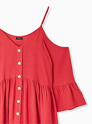 Red Gauze Button Cold Shoulder Bell Sleeve Top, AMERICAN BEAUTY, alternate