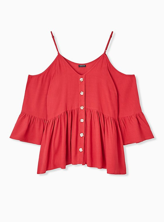 Plus Size Red Gauze Button Cold Shoulder Bell Sleeve Top, , hi-res