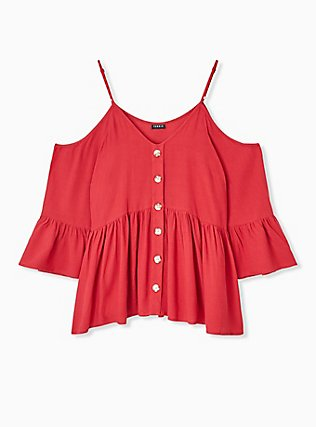 Red Gauze Button Cold Shoulder Bell Sleeve Top, AMERICAN BEAUTY, hi-res