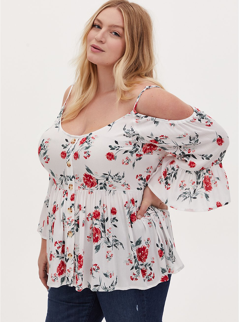 Plus Size Ivory Floral Gauze Button Cold Shoulder Bell Sleeve Top, FLORAL - IVORY, hi-res