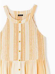 Yellow Stripe Button Smocked Babydoll Tank , STRIPE - YELLOW, alternate