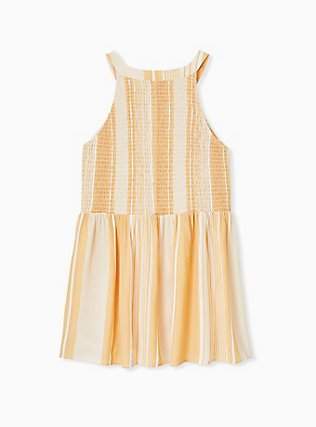 Yellow Stripe Button Smocked Babydoll Tank , STRIPE - YELLOW, alternate