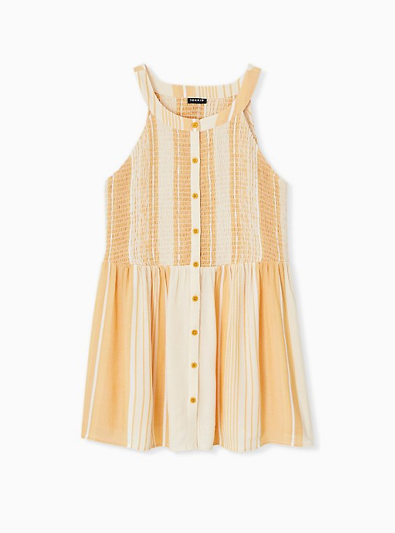Yellow Stripe Button Smocked Babydoll Tank , , hi-res