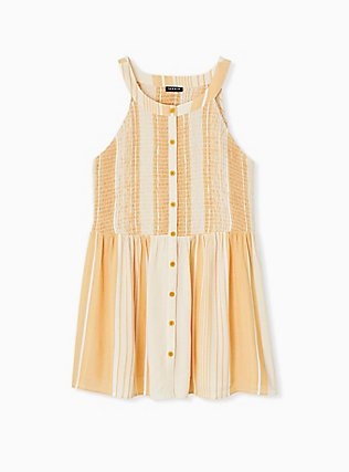 Yellow Stripe Button Smocked Babydoll Tank , STRIPE - YELLOW, hi-res