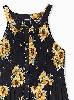 Plus Size Black Sunflower Button Smocked Babydoll Tank , FLORAL - YELLOW, alternate