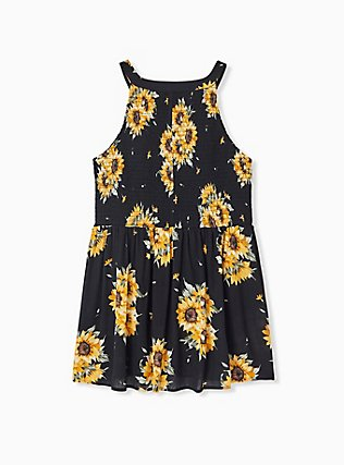 Black Sunflower Button Smocked Babydoll Tank , FLORAL - YELLOW, alternate
