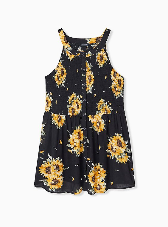 Plus Size Black Sunflower Button Smocked Babydoll Tank , , hi-res