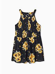 Black Sunflower Button Smocked Babydoll Tank , FLORAL - YELLOW, hi-res