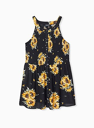 Plus Size Black Sunflower Button Smocked Babydoll Tank , FLORAL - YELLOW, hi-res