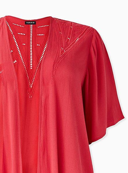Red Crinkled Gauze Crochet Inset Longline Kimono, AMERICAN BEAUTY, alternate