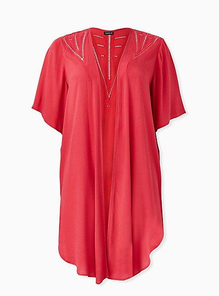 Red Crinkled Gauze Crochet Inset Longline Kimono, AMERICAN BEAUTY, hi-res