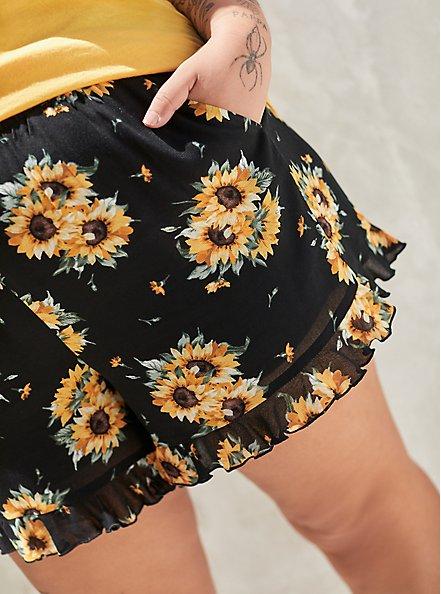 Ruffle Hem Mid Short - Gauze Sunflower Black , MULTI FORAL, alternate