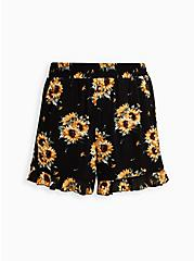 Ruffle Hem Mid Short - Gauze Sunflower Black , MULTI FORAL, hi-res