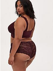 Plus Size Burgundy Purple Microfiber & Lace Back Cheeky Panty , WINETASTING, alternate