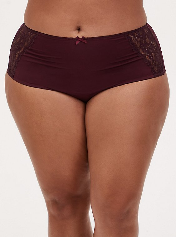 Plus Size Burgundy Purple Microfiber & Lace Back Cheeky Panty , WINETASTING, hi-res