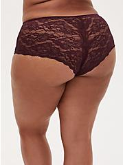 Multi Tropical Leaf Microfiber & Burgundy Purple Lace Back Cheeky Panty, TWILIGHT TROPICS BURGUNDY, alternate