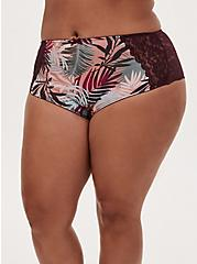 Multi Tropical Leaf Microfiber & Burgundy Purple Lace Back Cheeky Panty, TWILIGHT TROPICS BURGUNDY, hi-res