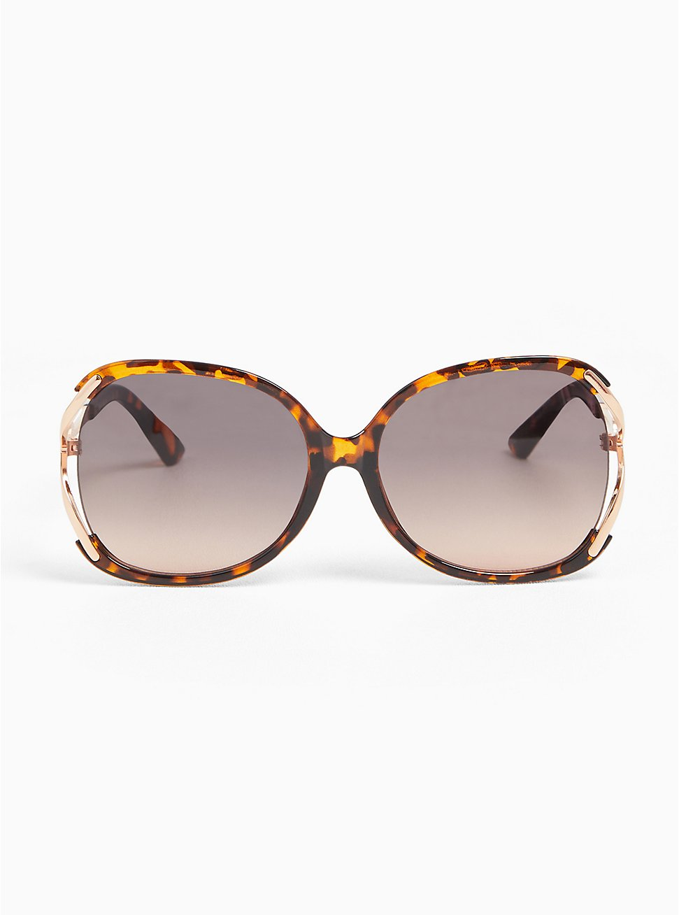 Tortoiseshell Side Cutout Oval Sunglasses, , hi-res