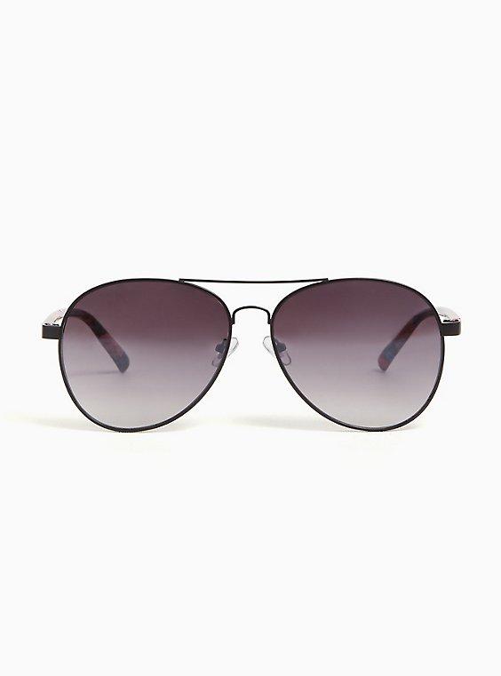 Plus Size Black & Floral Aviator Sunglasses, , hi-res