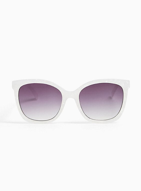 White Marble Cat Eye Sunglasses, , hi-res