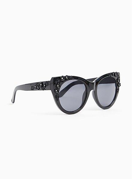 Black Floral Rhinestone Cat Eye Sunglasses, , alternate