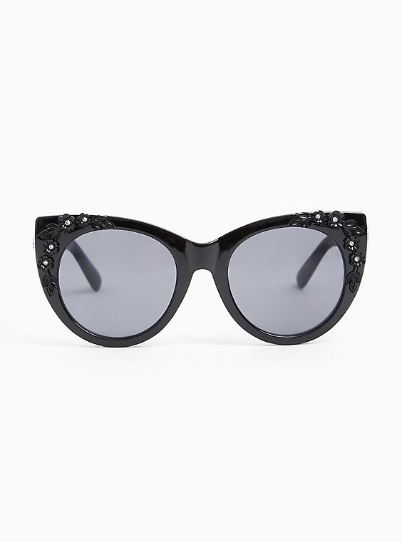 Black Floral Rhinestone Cat Eye Sunglasses, , hi-res