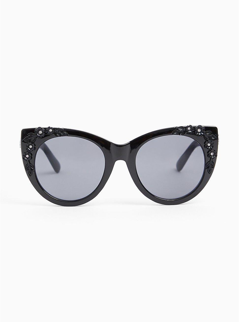 Black Floral Rhinestone Cat Eye Sunglasses, , hi-res