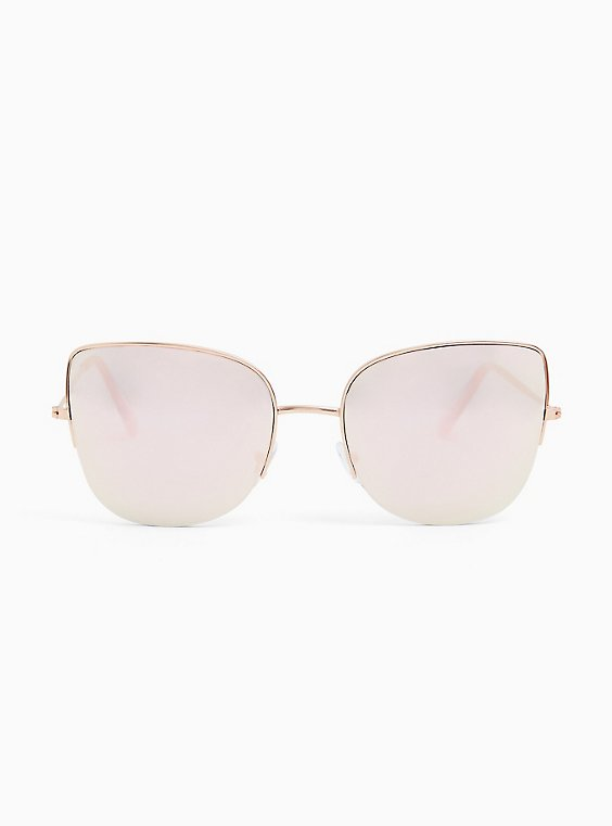 Plus Size Gold-Tone Metal Mirror Cat Eye Sunglasses, , hi-res