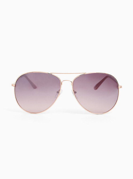 Rose Gold-Tone Metal Aviator Sunglasses, , hi-res