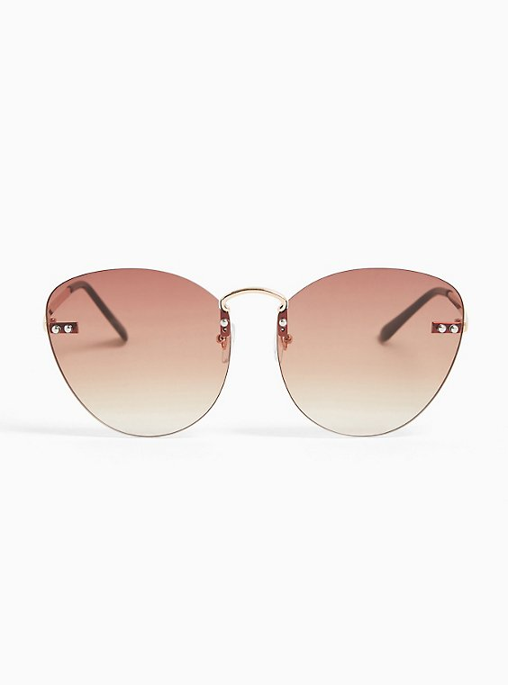 Brown Rimless Cat Eye Sunglasses, , hi-res
