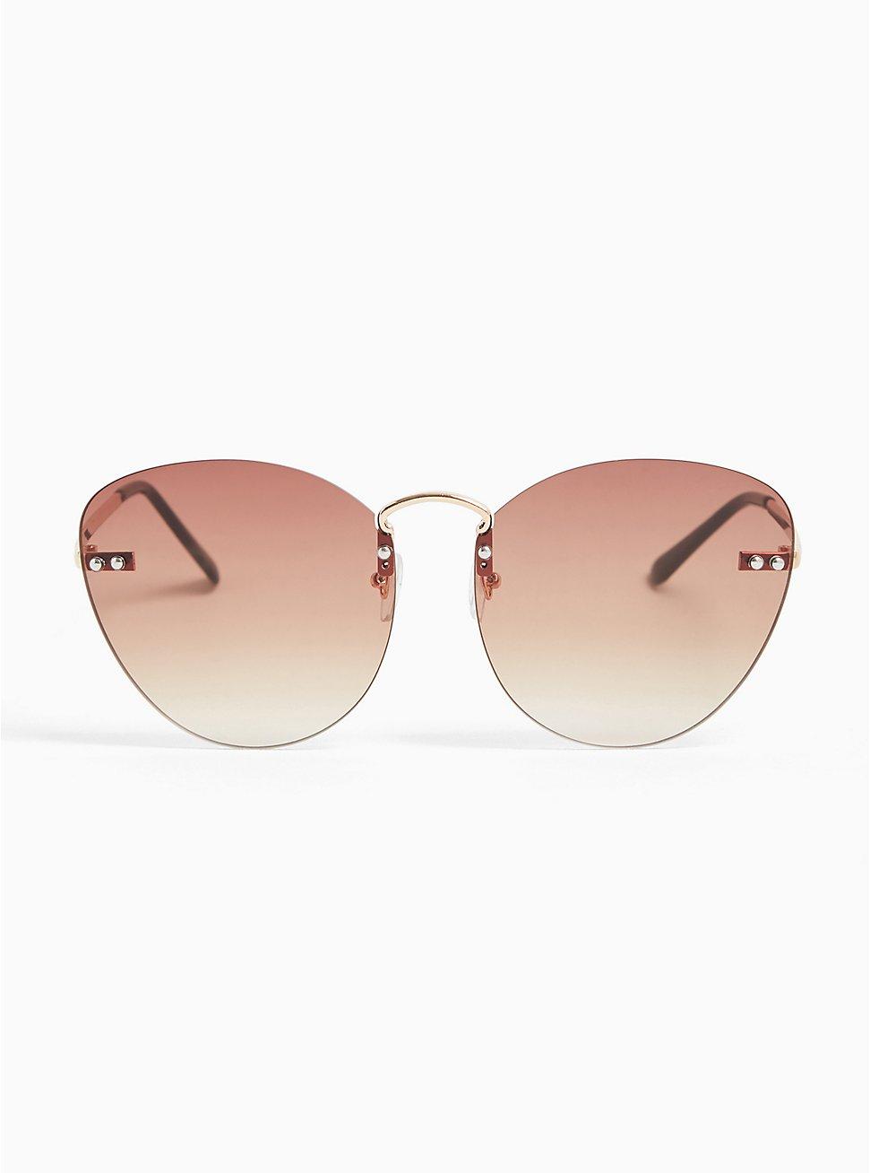 Brown Rimless Cat Eye Sunglasses, , hi-res