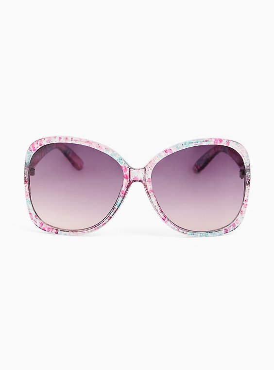 Clear Glitter Floral Print Oval Sunglasses, , hi-res