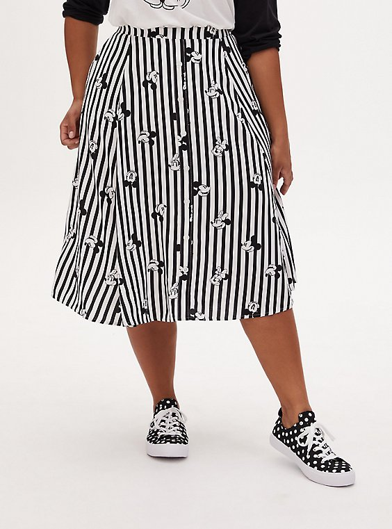 Disney Mickey Mouse & Minnie Mouse Black & White Stripe Challis Midi Skirt, , hi-res