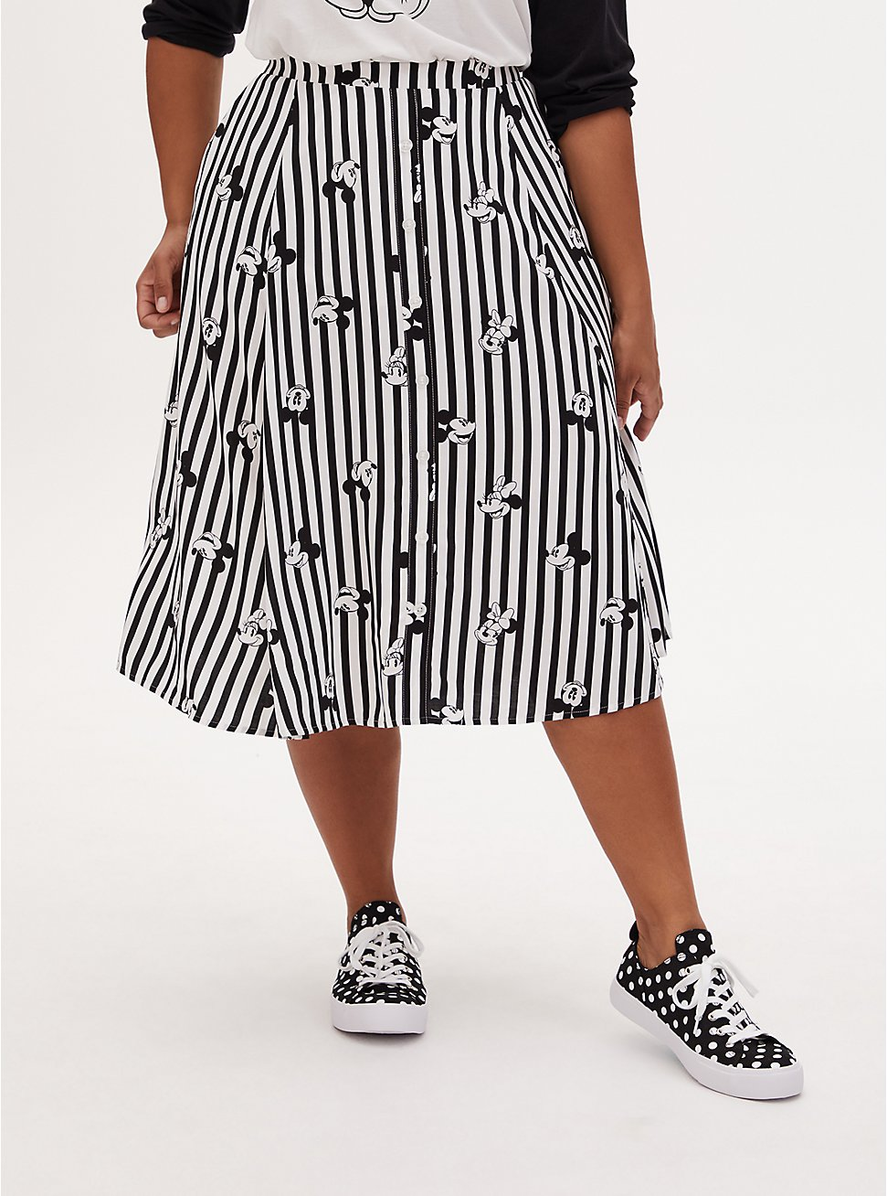 Disney Mickey Mouse & Minnie Mouse Black & White Stripe Challis Midi Skirt, BLACK-WHITE STRIPE, hi-res