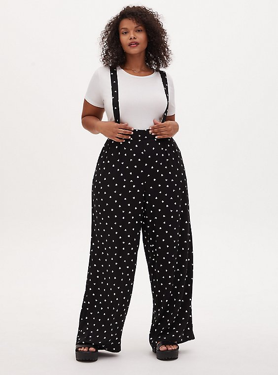 Disney Mickey Mouse & Minnie Mouse Polka Dot Black Challis Overall, , hi-res