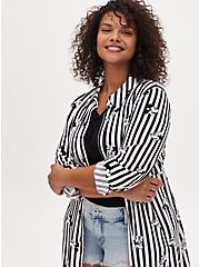 Plus Size Disney Mickey Mouse & Minnie Mouse Black & White Stripe Challis Kimono, MULTI STRIPE, alternate