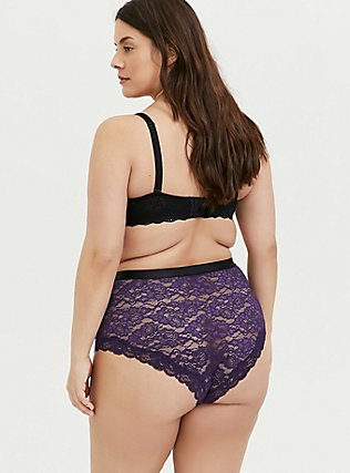 Dark Purple Lace High Waist Cheeky Panty, BLACKBERRY, alternate