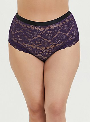 Plus Size Dark Purple Lace High Waist Cheeky Panty, BLACKBERRY, hi-res