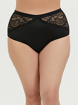 Black Microfiber & Lace Lattice High Waist Cheeky Panty, RICH BLACK, alternate