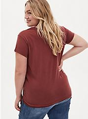 Brick Red Cupro Knot Front Tee, MADDER BROWN, alternate