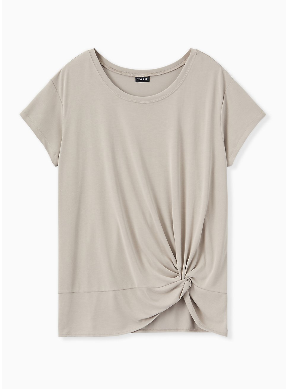 Plus Size Taupe Side Knot Tee, ATMOSPHERE, hi-res