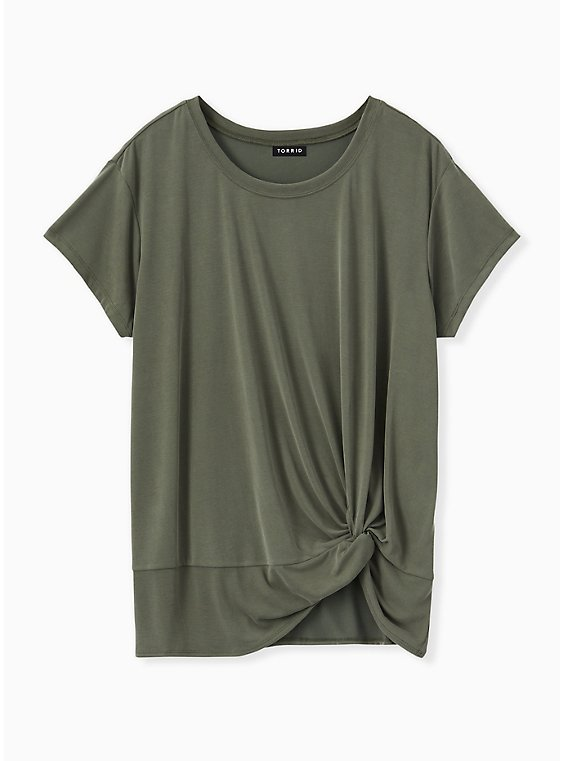 Plus Size Olive Green Side Knot Tee, , hi-res