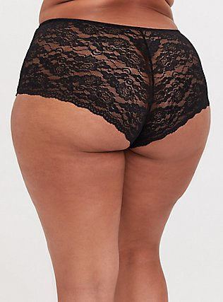 Black Floral Microfiber & Lace Back Cheeky Panty, TANGLED FLORAL, alternate
