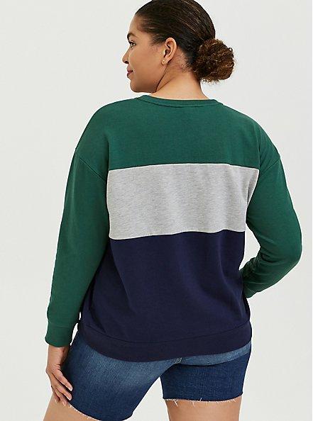 Colorblock French Terry Sweatshirt, STRIPE-NAVY, alternate