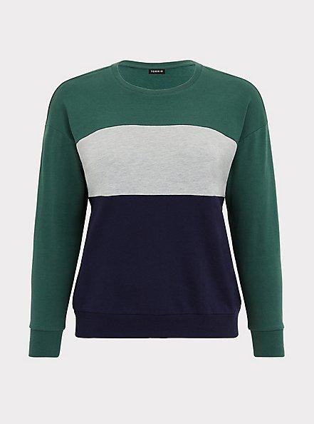 Colorblock French Terry Sweatshirt, STRIPE-NAVY, hi-res