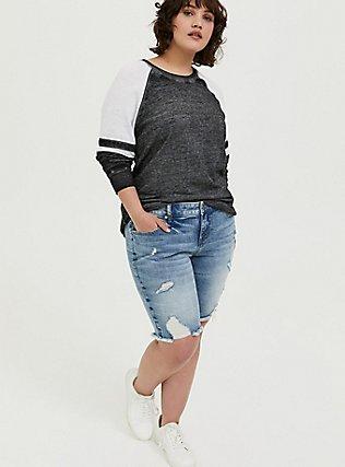 Black & White Burnout Football Sweatshirt, DEEP BLACK, alternate