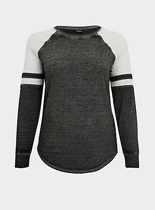 Black & White Burnout Football Sweatshirt, DEEP BLACK, flat